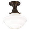 allen + roth 10-1/2-in W Oil Rubbed Bronze Frosted Glass Semi-Flush Mount Light