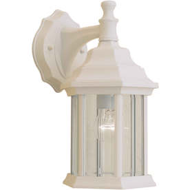 12-in H Matte White Outdoor Wall Light