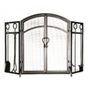 Style Selections 50.3-in Eggshell Black Powder Coated Steel 3-Panel Arched Twin Door Fireplace Screen
