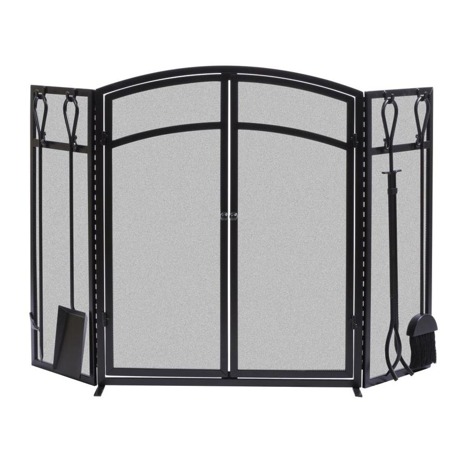 powder coated steel 3 panel arched twin fireplace screen at