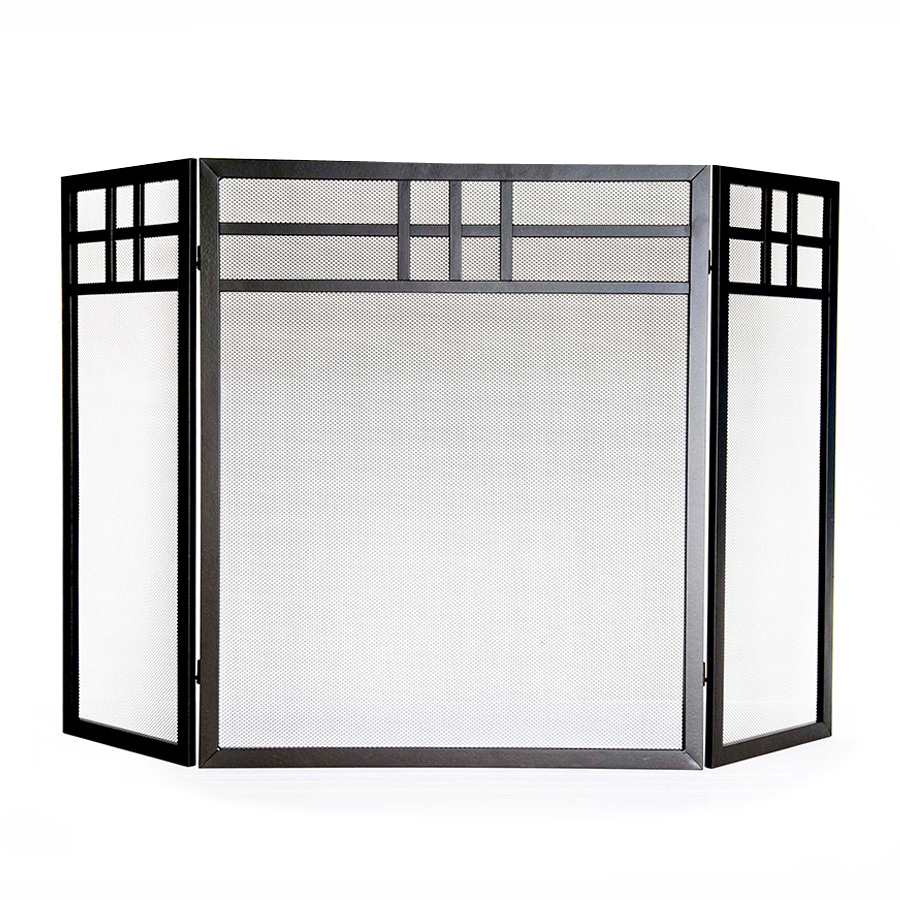 brown powder coated steel 3 panel flat fireplace screen at