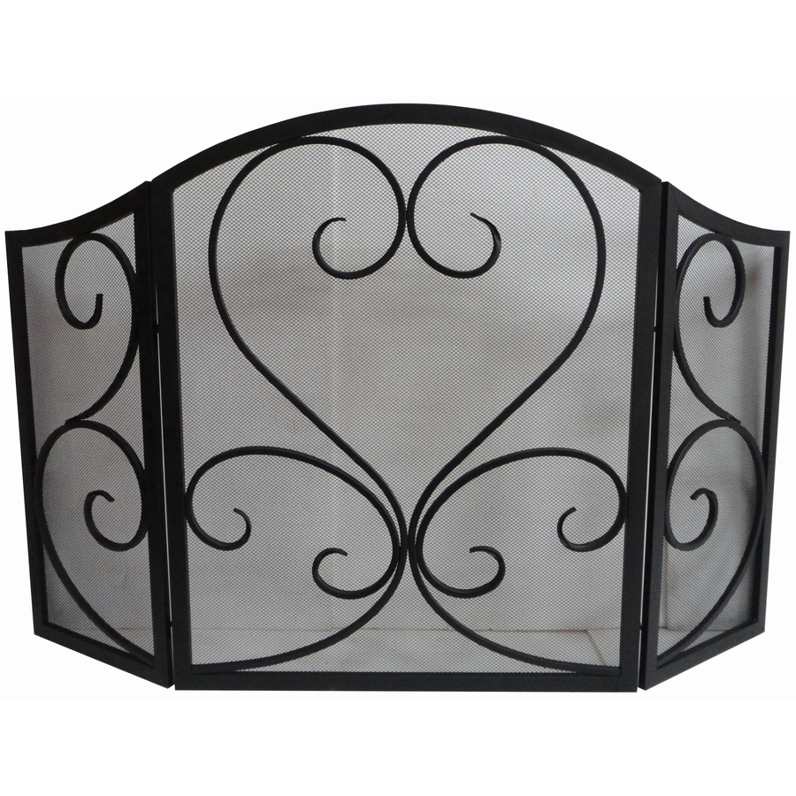 roth eggshell black powder coated metal fireplace screen at