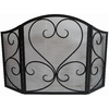 allen + roth 50.23-in Eggshell Black Powder Coated Steel 3-Panel Scroll Fireplace Screen