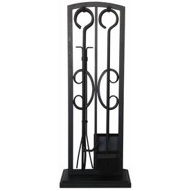 shop allen roth 5 piece metal fireplace tool set at