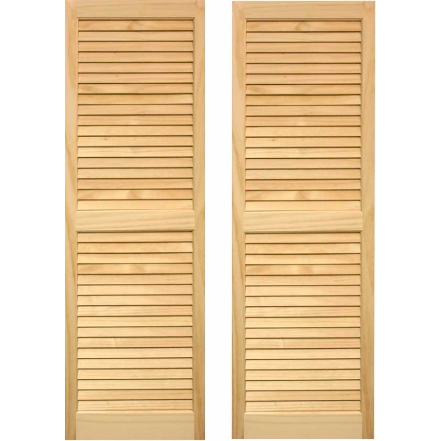 Shop Pinecroft 2 Pack Unfinished Louvered Wood Exterior Shutters Common 75 In X 15 In Actual