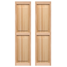 Pinecroft 2-Pack 15-in x 63-in Tan Raised Panel Wood Exterior Shutters