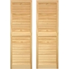 Pinecroft 2-Pack 15-in x 43-in Tan Louvered Wood Exterior Shutters