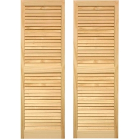 Pinecroft 2-Pack Unfinished Louvered Wood Exterior Shutters (Common: 15-in x 67-in; Actual: 15-in x 67-in)