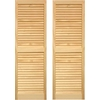 Pinecroft 2-Pack 15-in x 67-in Tan Louvered Wood Exterior Shutters