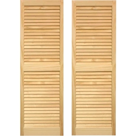 Pinecroft 2-Pack 15-in x 35-in Tan Louvered Wood Exterior Shutters
