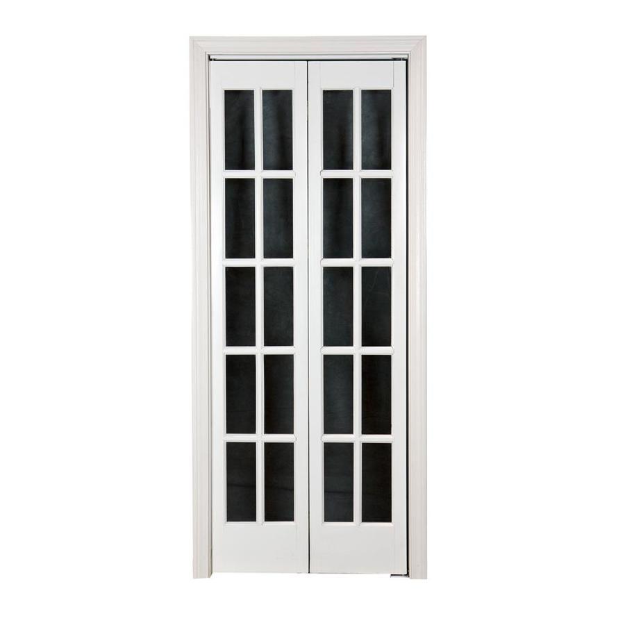 Shop pinecroft 10 lite french solid core pine bifold closet door common 36 in x 80 5 in - French bifold closet doors ...