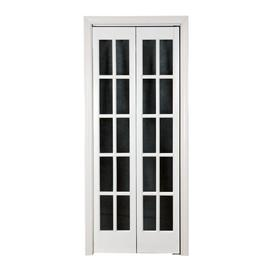 Shop pinecroft white solid core 10 lite pine bi fold for 36 inch interior french doors