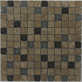 GBI Tile & Stone Inc. Mixed Glass Glazed Porcelain Mosaic Square Thinset Mortar Wall Tile (Common: 12-in x 12-in; Actual: 11.81-in x 11.81-in)