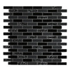 GBI Tile & Stone Inc. Gemstone Black Subway Mosaic Glass Wall Tile (Common: 12-in x 12-in; Actual: 11.97-in x 11.97-in)