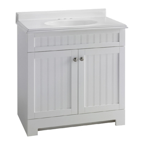 ESTATE by RSI 31-in White Boardwalk Single Sink Bathroom Vanity with Top