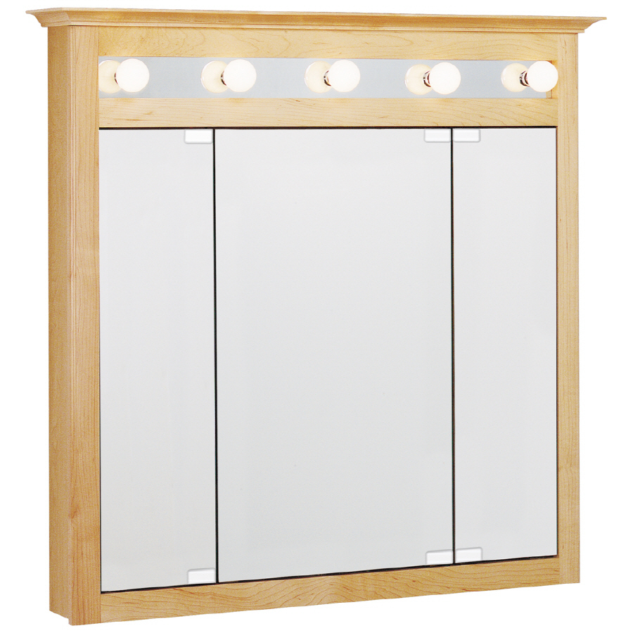 Shop estate by rsi lighted surface mount medicine cabinet at bathroom cabinets with for Bathroom medicine cabinets with led lights