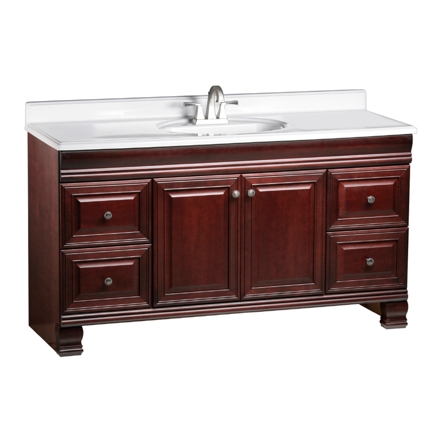 Shop estate by rsi cambridge burgundy traditional maple for Bathroom vanities lowes