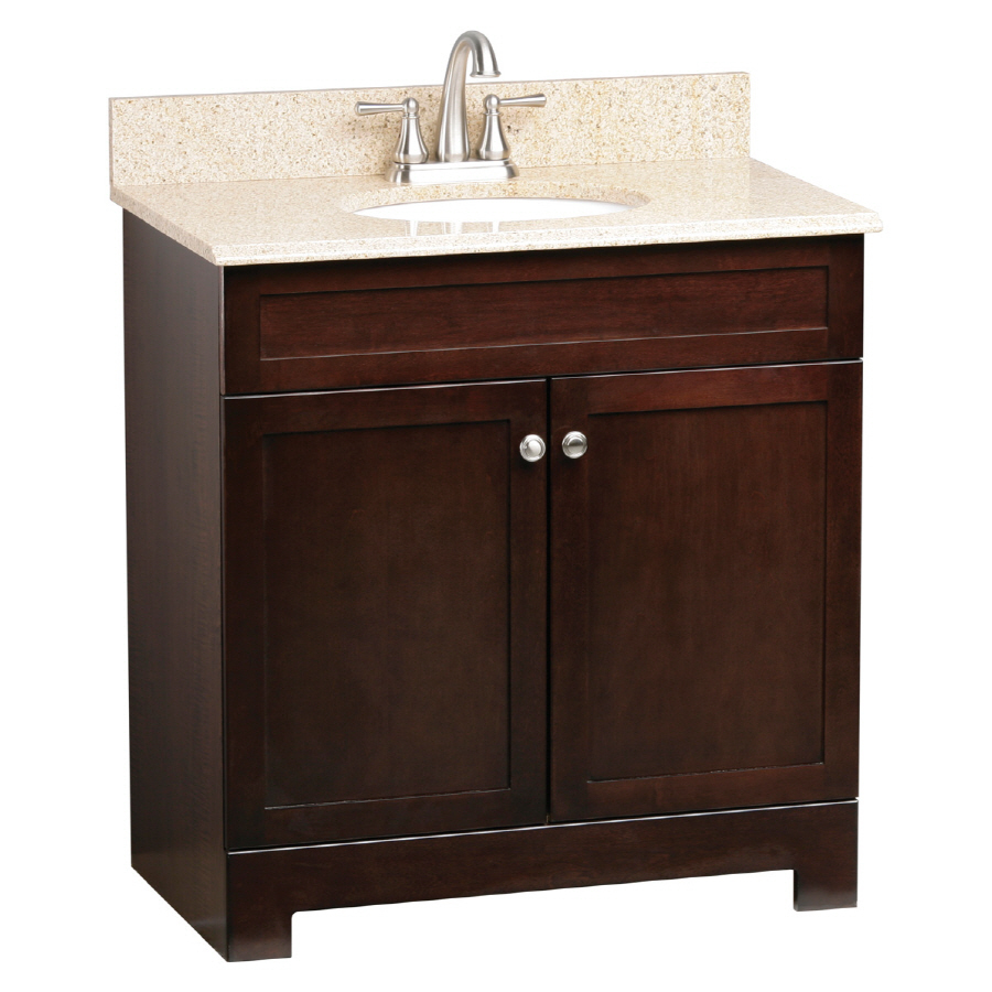 Shop style selections broadway espresso undermount single for Low bathroom cabinet
