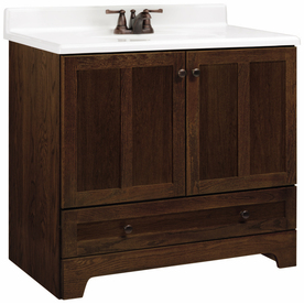 Home Style Selections 36quot; Cognac Oak Ashton Bottom Drawer Bath Vanity