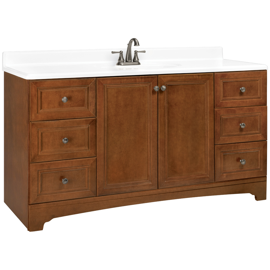 shop estate by rsi wheaton chestnut traditional bathroom vanity actual 60 in x 21 in at. Black Bedroom Furniture Sets. Home Design Ideas