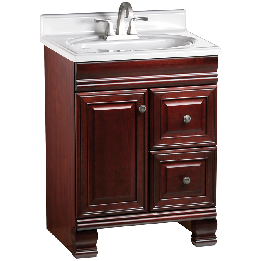 shop estate by rsi cambridge burgundy traditional bathroom vanity actual 24 in x 21 in at