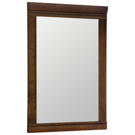 Style Selections 29-1/2-in H x 20-1/2-in W Weston Cognac with Black Glaze Rectangular Bathroom Mirror