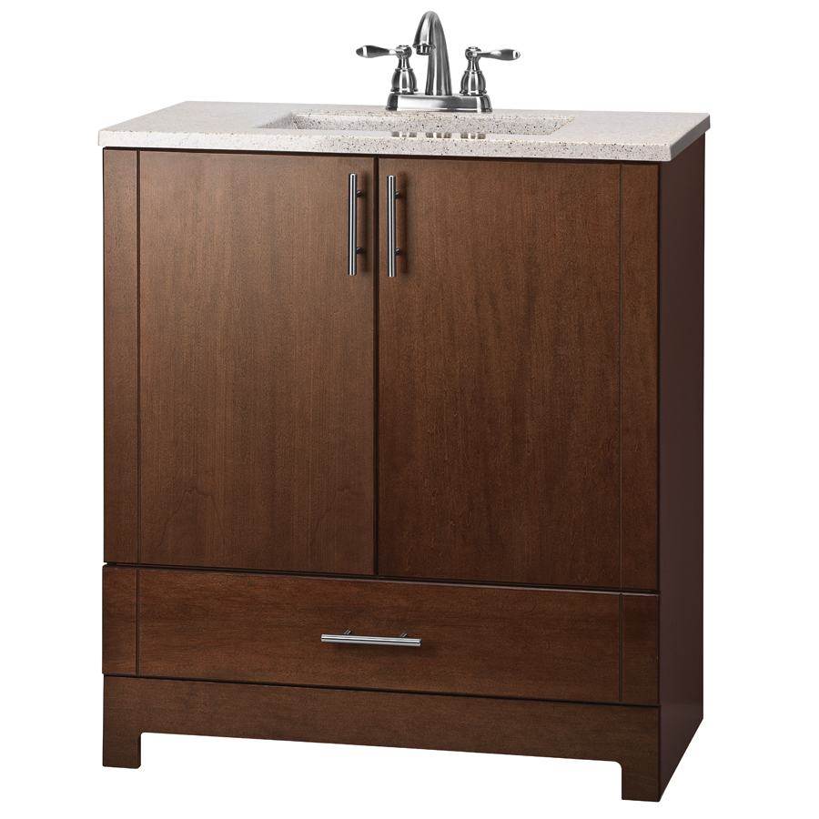 Shop estate by rsi modena cognac integral single sink for Bathroom vanities lowes