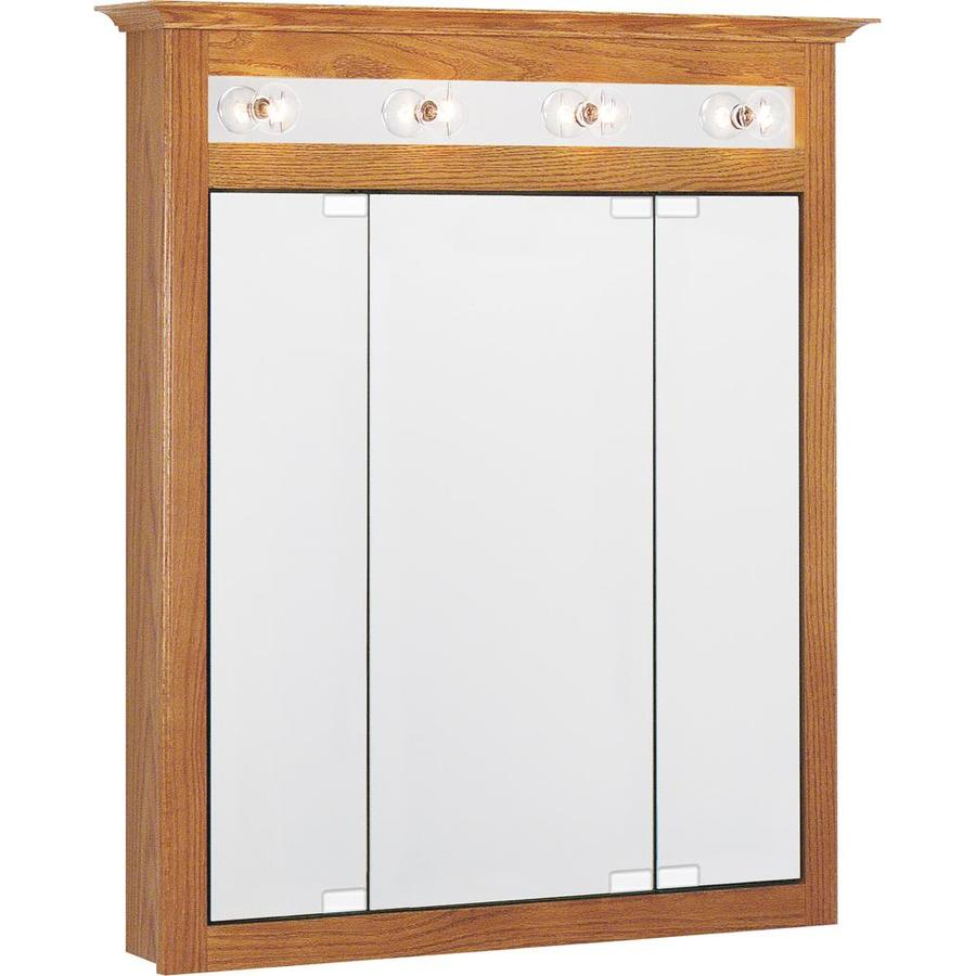 Shop Project Source X 36 In Oak Lighted Oak Surface Mount Medicine Cabinet At
