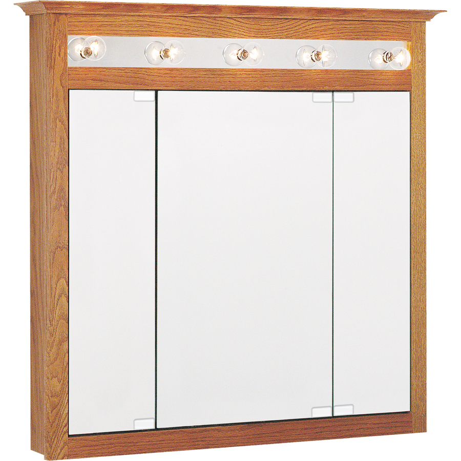 in x 36 in oak lighted oak surface mount medicine cabinet at