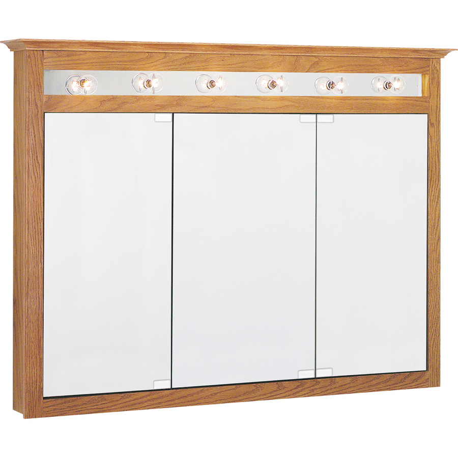 Shop Project Source 49.5-in x 36-in Golden Lights Mdf Surface Mount Medicine Cabinet at Lowes.com