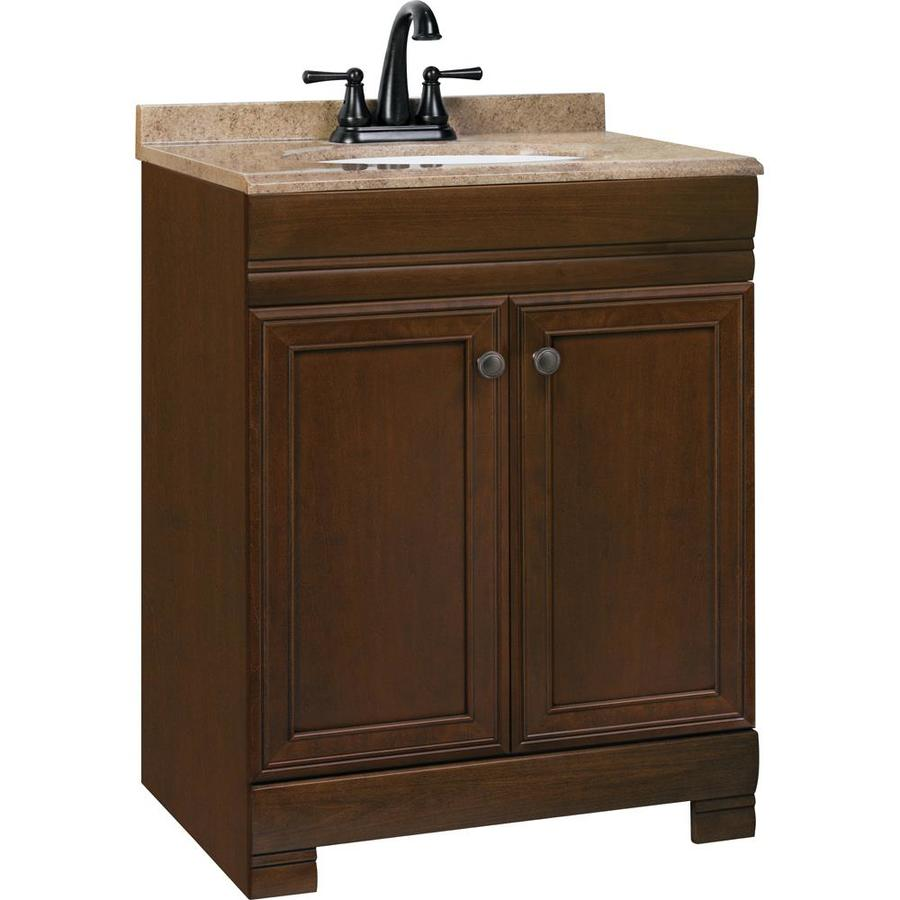 Shop style selections windell auburn integral single sink for Bathroom vanities lowes