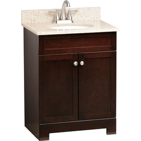 Style Selections Longshire Espresso Undermount Single Sink Bathroom Vanity with Granite Top (Common: 25-in x 19-in; Actual: 25-in x 19-in)