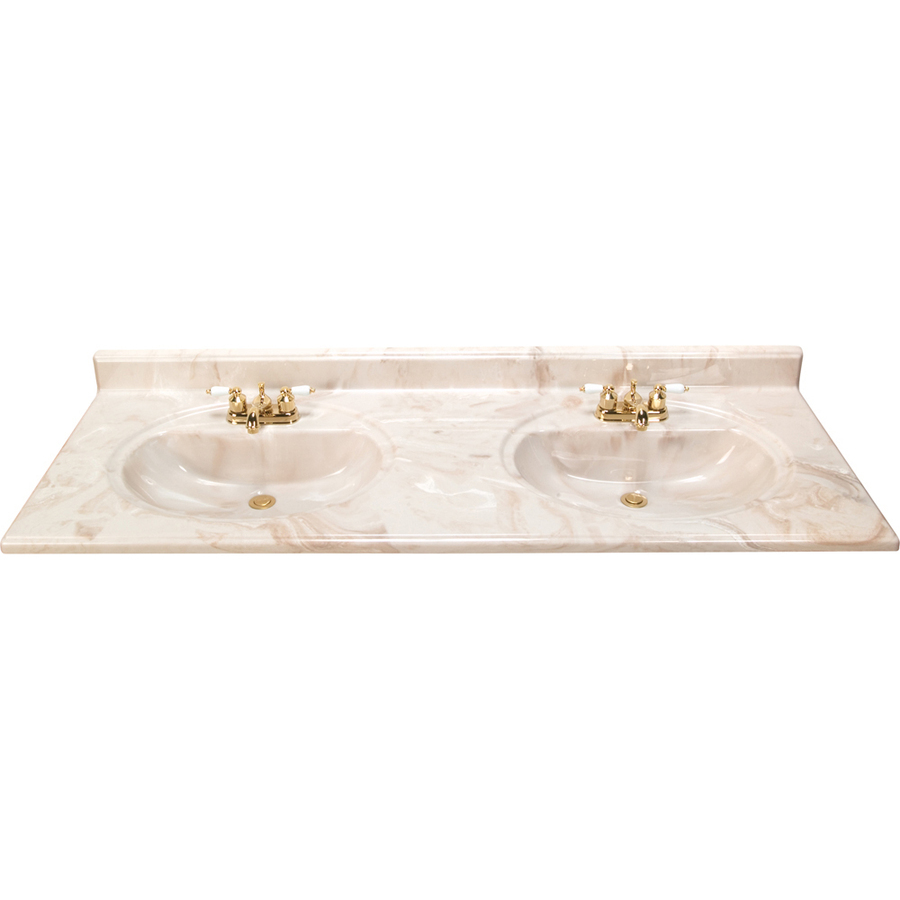 Shop style selections caramel caramel cultured marble integral double sink bathroom vanity top - Cultured marble bathroom vanity tops ...