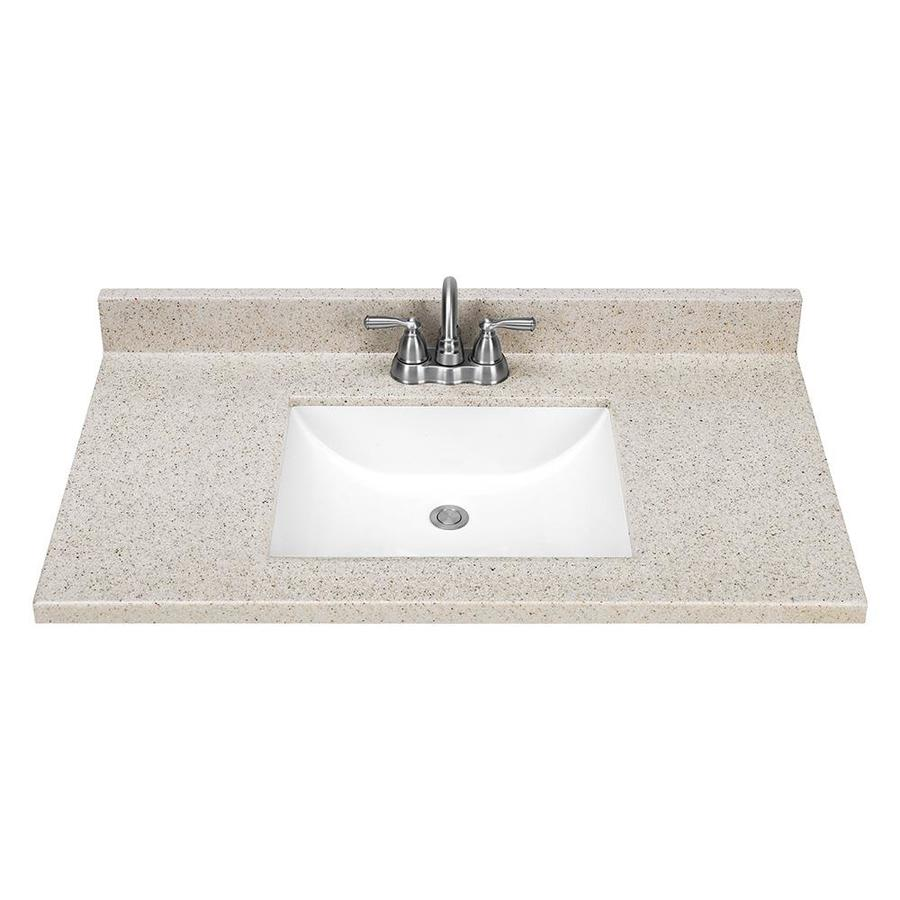 Shop Style Selections Dune Solid Surface Integral Single Sink Bathroom Vanity Top Common 37 In