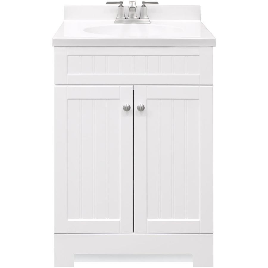 Style Selections Ellenbee 24 In White Single Sink Bathroom Vanity With White Cultured Marble Top In The Bathroom Vanities With Tops Department At Lowes Com