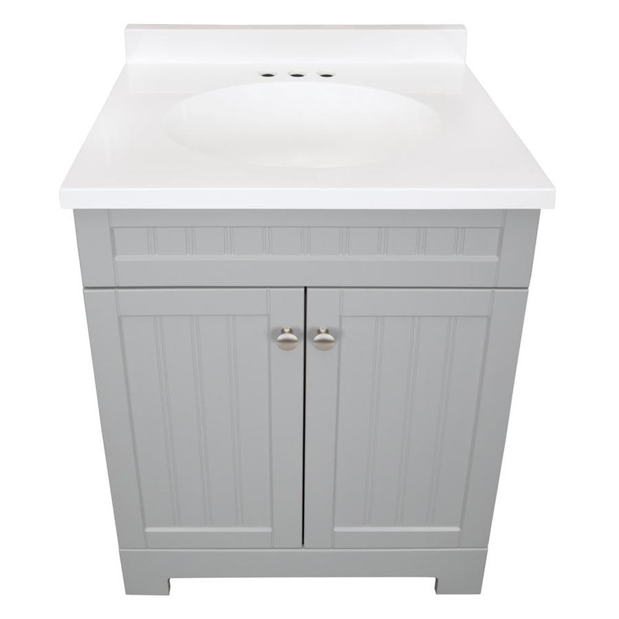 Style Selections Ellenbee 24 In Gray Single Sink Bathroom Vanity With White Cultured Marble Top In The Bathroom Vanities With Tops Department At Lowes Com