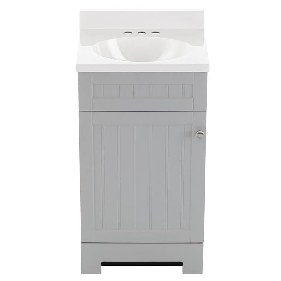Style Selections Ellenbee 18 In Gray Single Sink Bathroom Vanity With White Cultured Marble Top In The Bathroom Vanities With Tops Department At Lowes Com