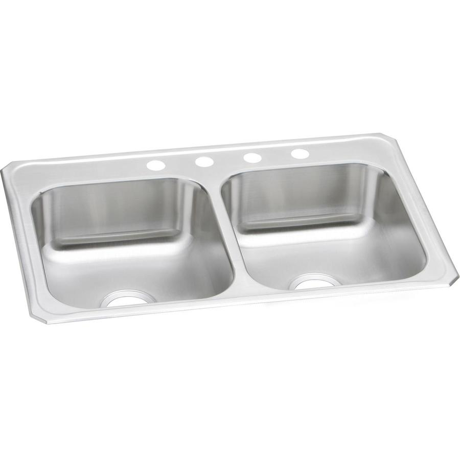 gourmet 20 gauge double basin drop in stainless steel kitchen sink