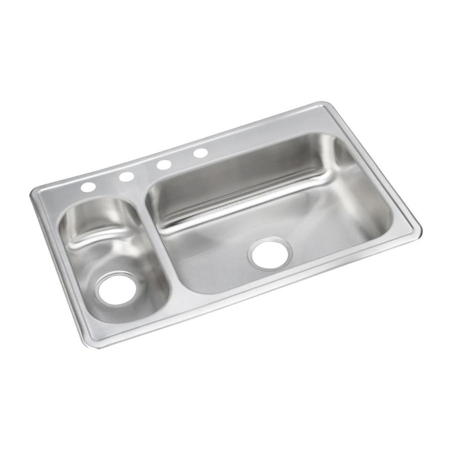 Shop Elkay Stainless Double Basin Drop In Kitchen Sink At