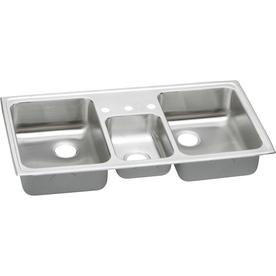 Triple Stainless Steel Sink : ... Triple-Basin Stainless Steel Drop-In 3-Hole Residential Kitchen Sink