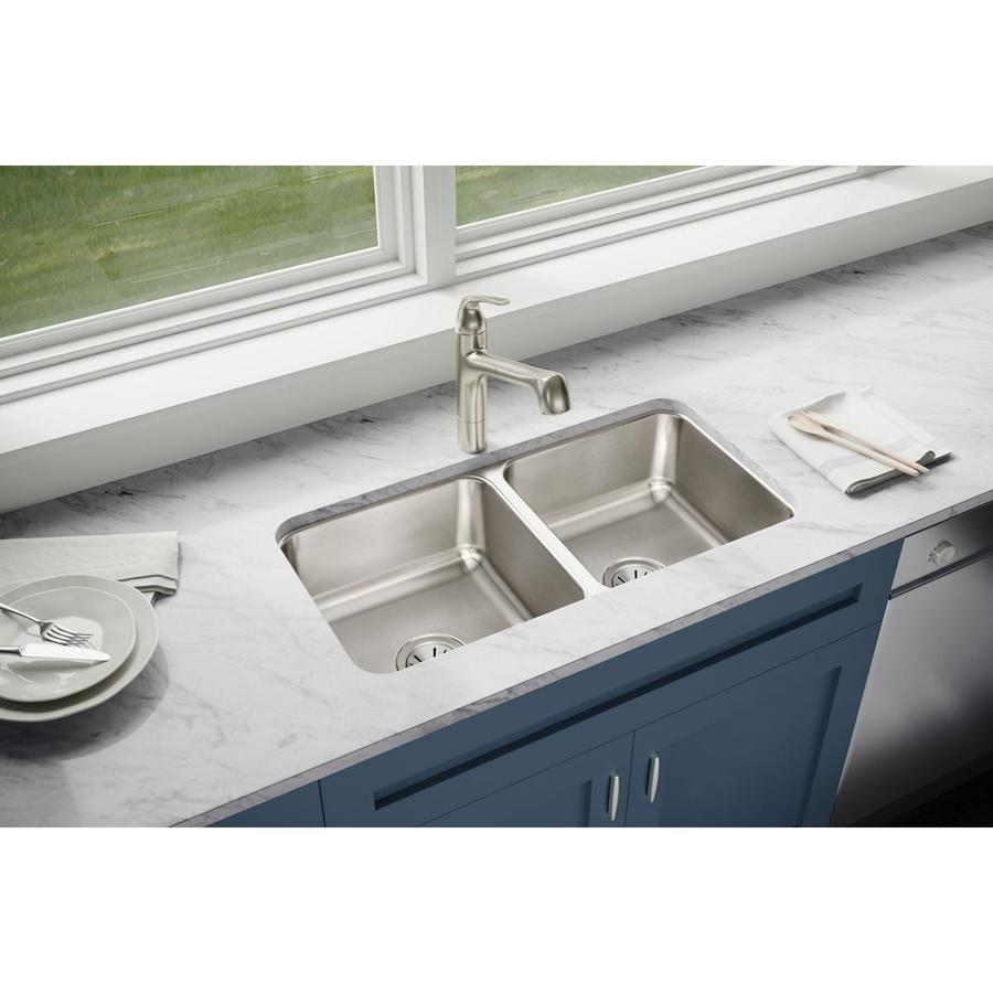 Elkay Stainless Steel Kitchen Sinks : ... Highlighted Satin Double-Basin Undermount Kitchen Sink at Lowes.com