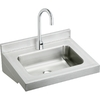 Elkay 19-in x 22-in Buffed Satin Wall Mount Stainless Steel Utility Tub Utility Sink with Faucet