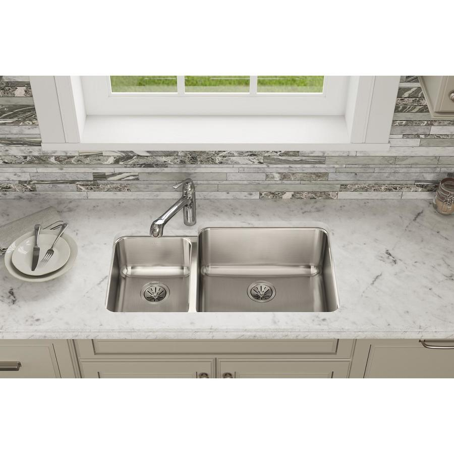 Elkay Stainless Steel Kitchen Sinks : Elkay Lustertone Stainless Steel Double-Basin Undermount Kitchen Sink ...