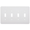 Mulberry 4-Gang White Standard Toggle Metal Wall Plate