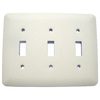 Mulberry 3-Gang Ivory Standard Toggle Metal Wall Plate