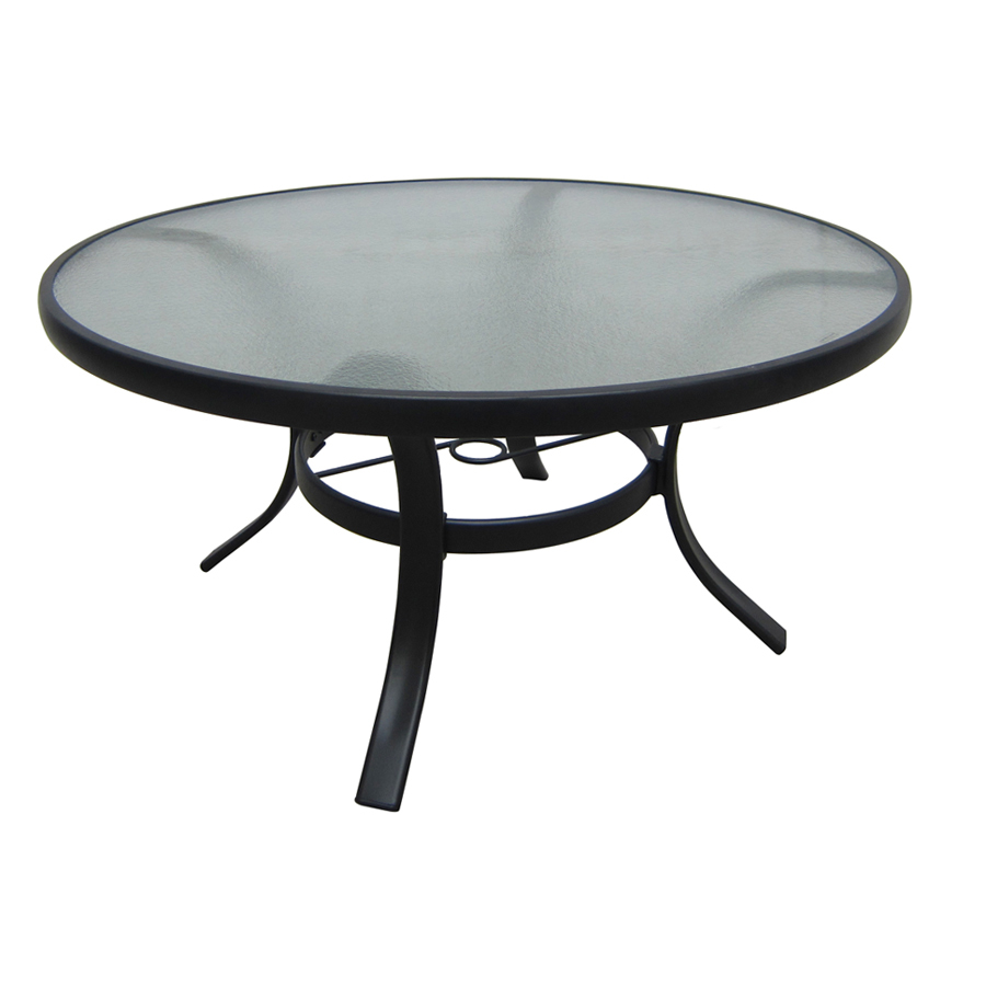 Shop garden treasures lake notterly 36 in glass top steel frame round patio coffee table at Metal glass top coffee table