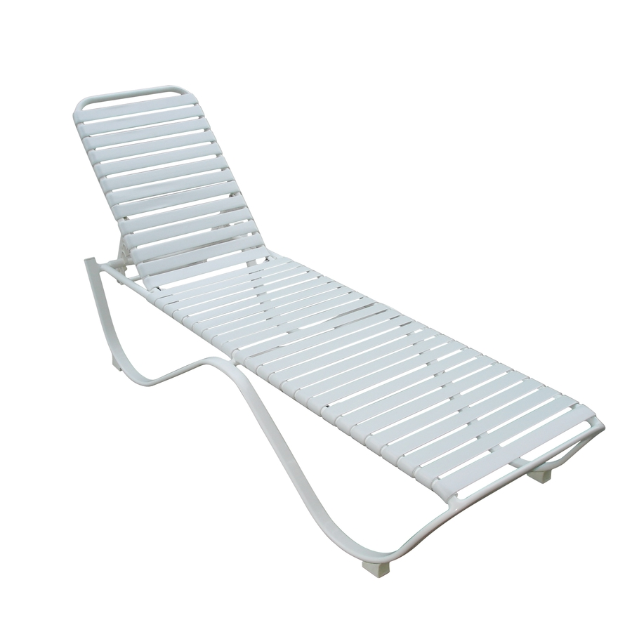 Shop garden treasures strap aluminum patio chaise lounge for Chaise lounge aluminum