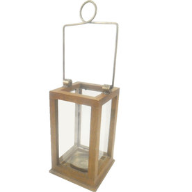 allen + roth 11-in Natural Glass Pillar Candle Outdoor Decorative Lantern