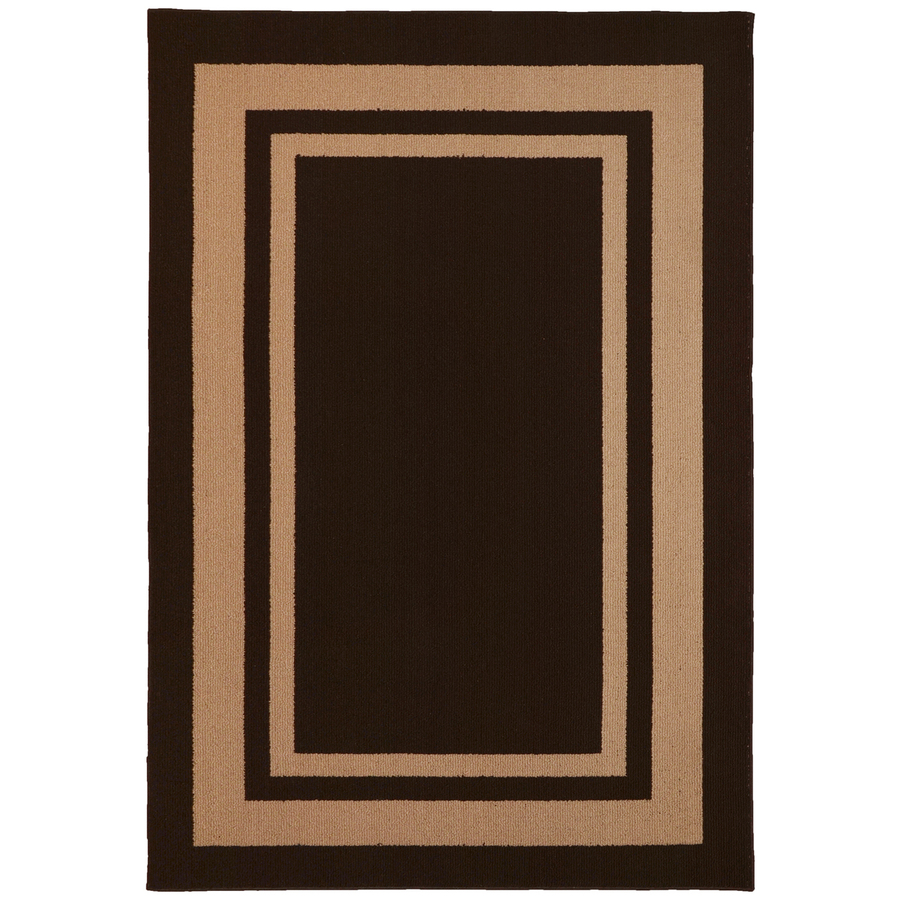 Shop Garland Lifestyles Rectangular Brown with Border Area Rug (Common: 5-ft x 7-ft; Actual: 5 ...
