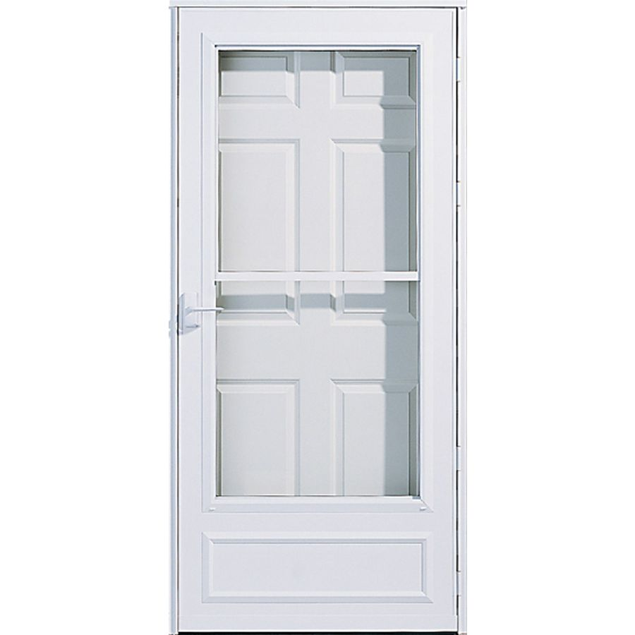 Shop pella white mid view safety retractable screen storm for Best rated retractable screen doors
